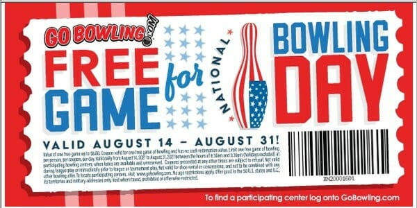 National Bowling Day 2021 Free Game Couponee game of bowling - every day from August 14 - August 3