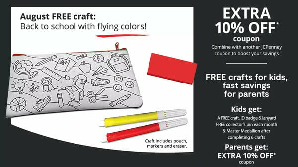 Free JCPenney Kids Zone craft event.