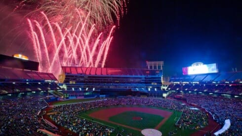 WATCH THEMED FIREWORKS FROM THE FIELD Sit in awe on the field as you watch Oakland A's fireworks after seven games in 2019. Following each fireworks game, fans will be invited to sit on the outfield grass to enjoy the dazzling sky high show.