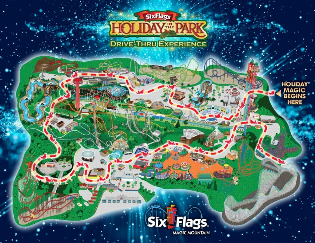Six Flags Holiday in the Park Drive Thru Experience