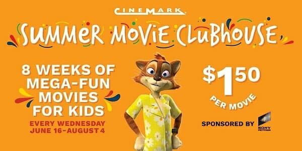 $1.50 Kids Movies at Cinemark Summer Movie Clubhouse 2021